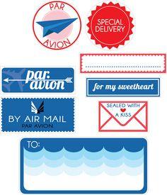Free Par Avion Inspired Printable Stickers!