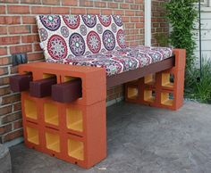 Our take on beautiful bench idea using posts and cinderblock and some paint