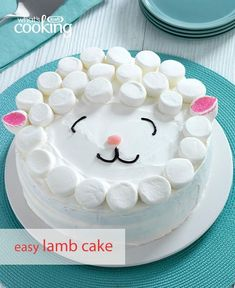 How cute is this Easy Lamb Cake? Minimal decorating skills are needed to make this adorable cake. So grab some cake mix, COOL-WHIP and JET-PUFFED marshmallows, and get started on this fabulous Easter dessert. Tap or click photo for #recipe.