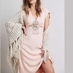 $168 NWOT FREE People BOHO Cut out beaded dress XS NWOT No Trades Price firm unless bundled Free People Dresses Midi