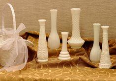Wedding Vases  Vintage Milk Glass Vases for by TinkersVintage, $32.00