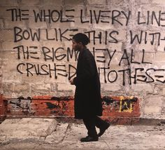 "Jean-Michel Basquiat    SAMO© BOOM FOR REAL   ""THE WHOLE LIVERY LINE BOW LIKE THIS WITH THE BIG MONEY ALL CRUSHED INTO THESE FEET"""