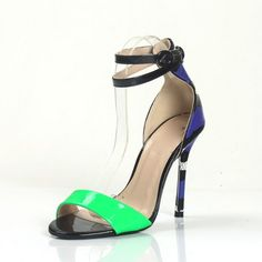 FSJ Sandal Shoes Beryl Green Commuting High Heels Open Toe Ankle Strap Sandals Stiletto Heel Sandals Summer and Fall Outfits for Party, Date | FSJ