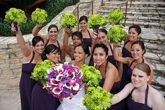 green bouquets for bridesmaids + purple for the bride Purple Wedding, Our Wedding, Wedding Flowers, Wedding Stuff, Wedding Dresses, Bridesmaid Flowers, Bride Bouquets, Green Bridesmaids, Green Flowers