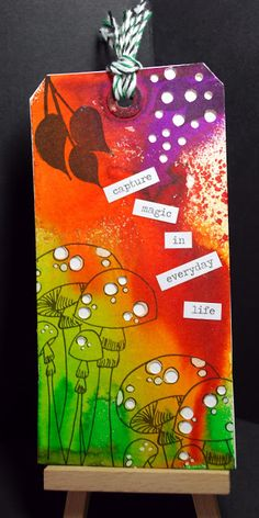 Eileen's Crafty Zone: Dylusions Inks and Stamps on a Tim Holtz Tag