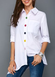 Irregular Thin Women Office Lady Shirt Top Plus Size Colorful Button White Long Sleeve Feminine Blouses Tops Summer Lady Shirts Trendy Tops For Women, Blouses For Women, White Long Sleeve, Blouse Designs, Shirt Blouses, Fashion Outfits, Fashion Fashion, Pullover, Clothes