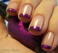Beige and glittery purple French nails. How To Do Nails, Fun Nails, Pretty Nails, Sparkle Nails, Gorgeous Nails, Glitter Nails, Nice Nails, Bling Nails, Bling Bling