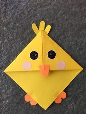 Cute animal corner bookmark fun activity for kids, cute gift idea _ Baby chick … – Origami Bookmark Craft, Corner Bookmarks, Origami Bookmark, Bookmarks Kids, Diy Marque Page, Marque Page Origami, Origami Simple, Cute Origami, Easter Crafts For Kids