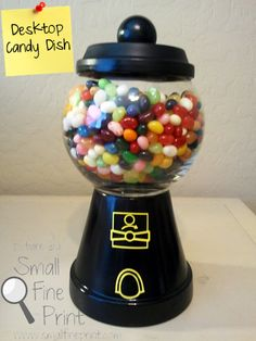 Desktop Gumball Machine. Could fill with nuts as well!