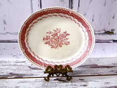 Grindley Ironstone Red Pink Transferware Oblong Serving Platter 1930s // Vintage Dining and Serving Transfer Ware by SueEllensFlair on Etsy