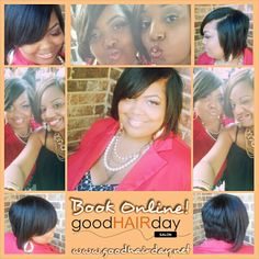 Bob! Make Up Application! Relaxed Styles, Natural Styles, Keratin Treatments, Custom Color, Precision Cuts Book online!  www.goodhairday.net