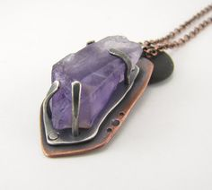 Midnight Sky raw amethyst, sterling silver and copper pendant by silentgoddess