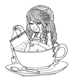 Jazmín - Freebie digital stamp - scrapbook printable - Zuri Artsy Craftsy - Tea time