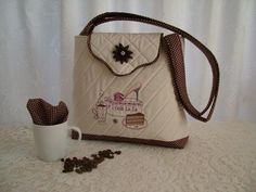"""Cappuccino Handbag Pattern"" coffee lovers will enjoy this design set that includes a cup of coffee, chocolate cake and shoe design, with handbag instructions to create a handbag measuring at the bottom that narrows to at the top! Machine Embroidery Projects, Embroidery Software, Custom Embroidery, Embroidery Thread, Soft Purple, Free Design, Design Set, Pattern Design, Reusable Tote Bags"
