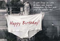 Lustige Grußkarte - Happy Birthday! Es gibt Dinge im Leben - da muss man langsam reinwachsen. Geburtstagskarten