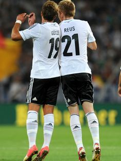 Young guns Mario Götze & Marco Reus celebrating a goal and an assist while playing for the German National Team.