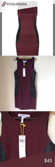 """NWT BCBGeneration Brulee bodycon dress Size S NWT bcbg dress, black leather detail on the sides! It fits amazing! And contours your body! Arm pit to arm pit: 15"""" total length: 32'' BCBGeneration Dresses Mini"""