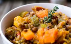 Vegan Mixed Herb Lentil and Wild Rice Soup