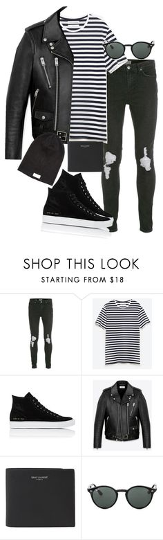 """""""Untitled #1771"""" by itsmeischoice on Polyvore featuring Topman, Zara, Common Projects, Yves Saint Laurent, Ray-Ban, Nudie Jeans Co., mens, men, men's wear and mens wear"""