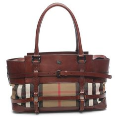 "Authentic Burberry Classic Check canvas Kent tote handbag. Features black hardware, smooth brown leather trim and accents, two rolled leather handles (8"" drop), five protective metal feet, and a top zipper closure. Interior of handbag is lined in brown canvas with a side zipper pocket, a cell phone/accessory pocket, two patch pockets. Includes Burberry dust bag and information card. Authenticity/Serial #: ITEFFEPI14SCA."