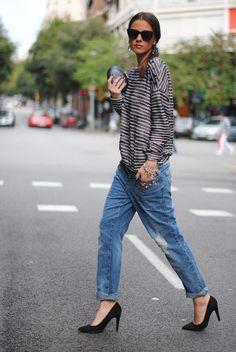 boyfriend jeans, fashion, boyfriend style, heel, outfit