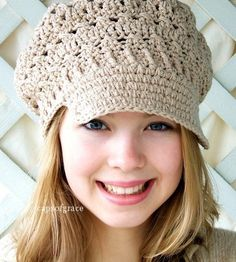 Crochet Hat Pattern Womens Newsgirl Newsboy Slouchy Hat PDF 160 12 Month to Adult Permission to Sell Hat via Etsy