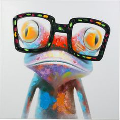 """48 in. x 48 in. """"Amazing Gecko"""" Hand Painted Canvas Wall Art"""