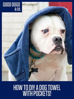 If you can sew a straight line, you can DIY this towel. Plus, this dog bath towel has pockets for your hands, which makes drying off your dog basically a million times easier.