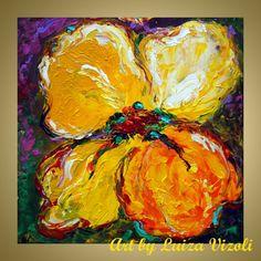 ABSTRACT Yellow Orange Flower Modern Impasto Oil by LUIZAVIZOLI, $199.00