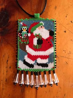Santa & penguin peyote beaded necklace...saw this cute pattern, had to give it a try