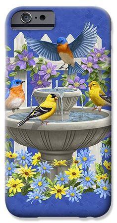 Bluebird Goldfinch Birdbath Garden Royal Blue iPhone 6 Case