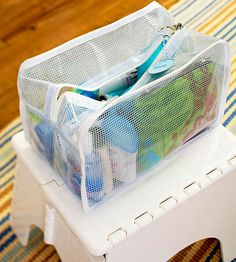 Assemble travel bags filled with small-size toiletries in plastic zippered bags so you're always ready to go. Prepare one for each family member, personalized with his or her favorites./