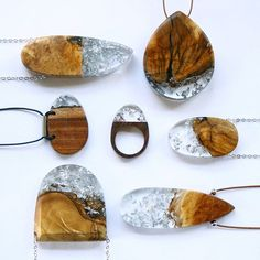Australian wood + transparent resin + silver leaf  BoldB.etsy.com  #BoldB…