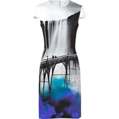 Mary Katrantzou Silk Crepe Fitted Dress in Sanfran (11 380 ZAR) ❤ liked on Polyvore