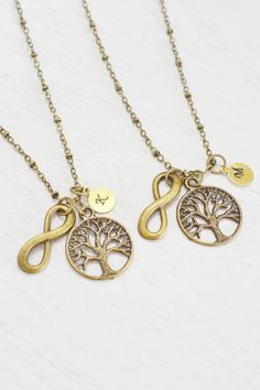 tree of life necklace,personalized best friend necklace,best friend gift set,best friend jewelry,tree necklace,infinity necklace,christmas