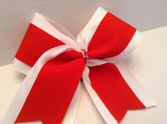 White and Red Cheer Bow by RouzandLezar on Etsy https://www.etsy.com/listing/223888741/white-and-red-cheer-bow