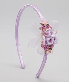 Look at this #zulilyfind! Lavender Flower & Ribbon Headband #zulilyfinds