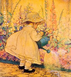 """Illustration by Jessie Willcox Smith- """"Watering the Foxglove"""" Art And Illustration, American Illustration, Girl Illustrations, Vintage Pictures, Vintage Images, Vintage Art, Vintage Prints, Jessie Willcox Smith, Mellow Yellow"""