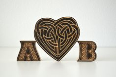 Celtic Knot Wood Cake Topper Set.  carved pine by TimberAndStitch, $35.00