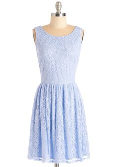 Dream Design Dress - Blue, Solid, A-line, Wedding, Daytime Party, Bridesmaid, Lace, Graduation, Pastel, Sleeveless, Spring, Mid-length
