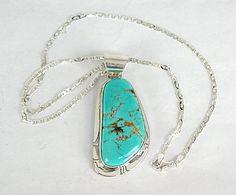 Authentic Navajo  Sterling Silver Manassa Turquoise pendant