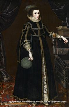 """""""Portrait of a Lady (probably Mary Hungate)"""", Maker/Artist Marcus, Gheeraerts the Younger, 1620-1625. What looks like an embroidered petticoat underneath dress."""