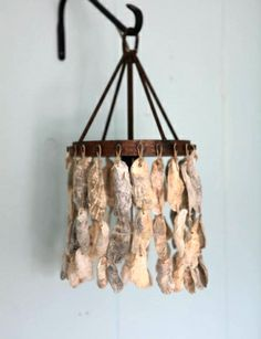 Oyster Shell Sconces | The small oyster lamps also make awesome wall sconces hung from hooks!