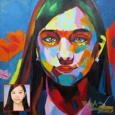 Portrait by pallete knife