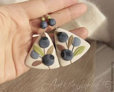 Items similar to Triangular dangle earrings Blueberries - Large earrings - Polymer clay earrings - Berries- Blue Ivory earrings - Summer jewelry on Etsy Polymer Clay Kunst, Fimo Clay, Polymer Clay Projects, Polymer Clay Earrings, Clay Beads, Metal Clay Jewelry, Ceramic Jewelry, Bijoux Fil Aluminium, How To Make Necklaces