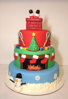 Night before Christmas cake. 3 tier cake with buttercream snow and sugar veil snowflakes. Hand cut stockings hung around fire. Candy canes surrounding fondant Christmas tree and mini cake chimney topper Holiday Treats, Christmas Treats, Christmas Cakes, Butterscotch Cake, Xmas Desserts, Online Cake Delivery, Fondant, Christmas Cake Decorations, Order Cake