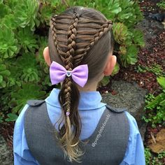 Today's style is inspired by my awesome friends @swamptrapp1975 and @mybraidedprincess5  We made it a style suitable for school by adding a ponytail!  Such a sweet style!