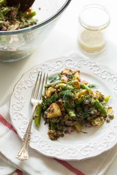 Roasted Potato and Asparagus Lentil Salad with Tangy Mustard Lemon Dressing from Oh She Glows 55 min