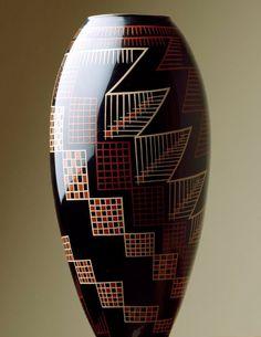 Art Déco - Vase Laqué à Motifs Géométriques - Jean Dunand