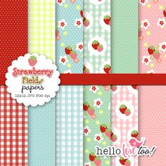 Strawberry Fields digital paper set by hellolovetoo on Etsy